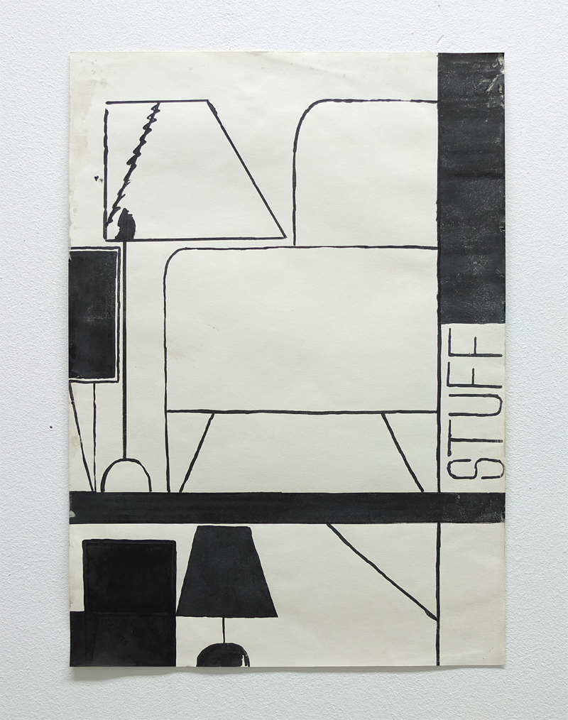 Lawrence Power, ink and collage drawings